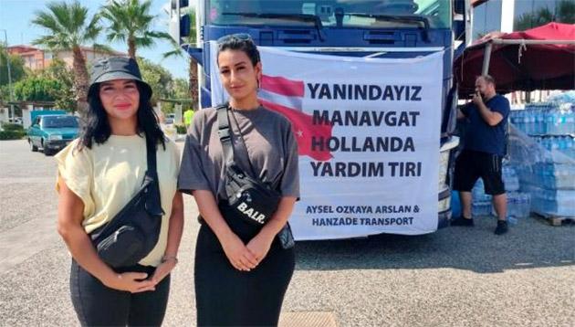 Hollanda'da iki Türk kızından Manavgat'a bir TIR dolusu yardım